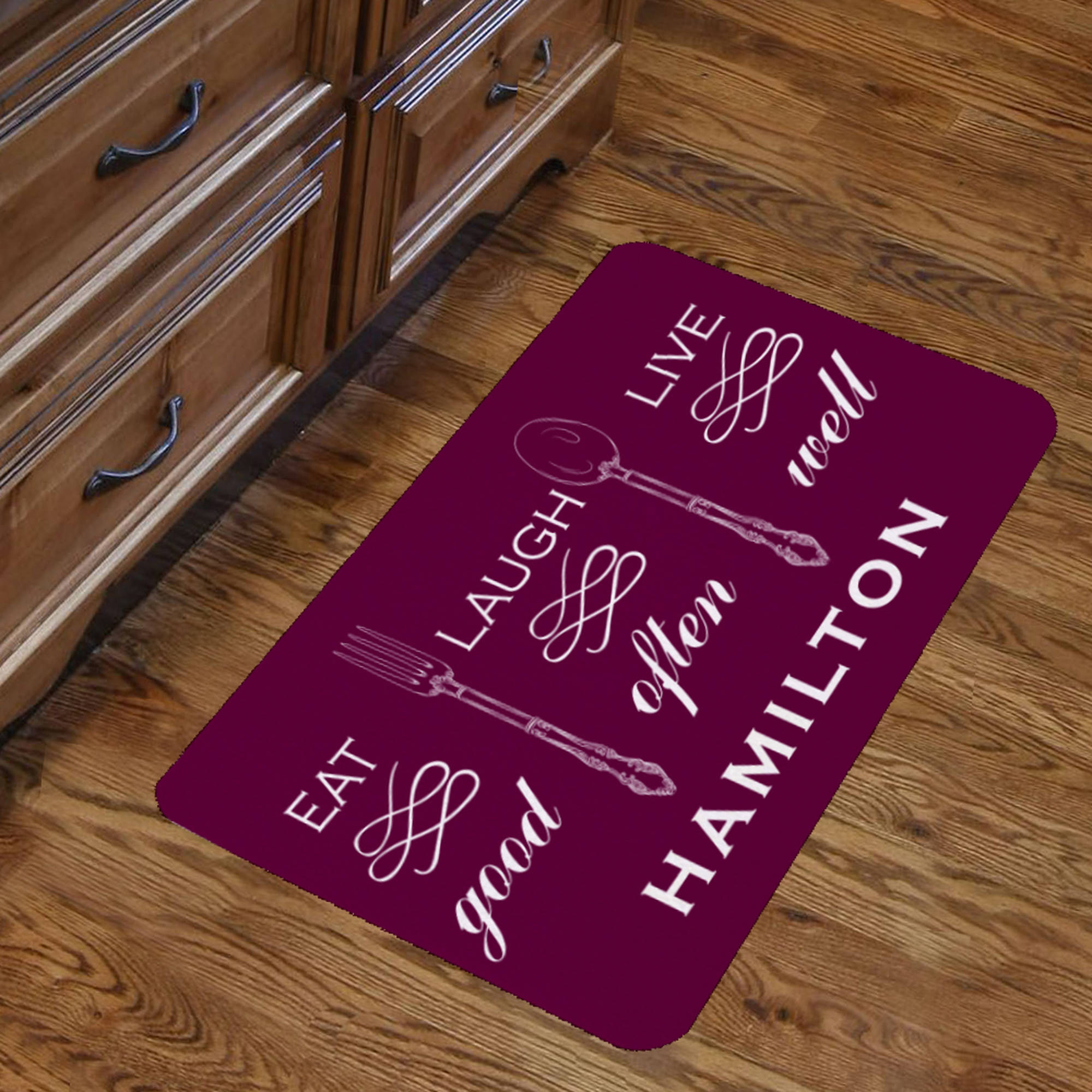 "Personalized Eat Good Laugh Often Live Well Indoor Floor Mat , 26.5"" x 17.5"""