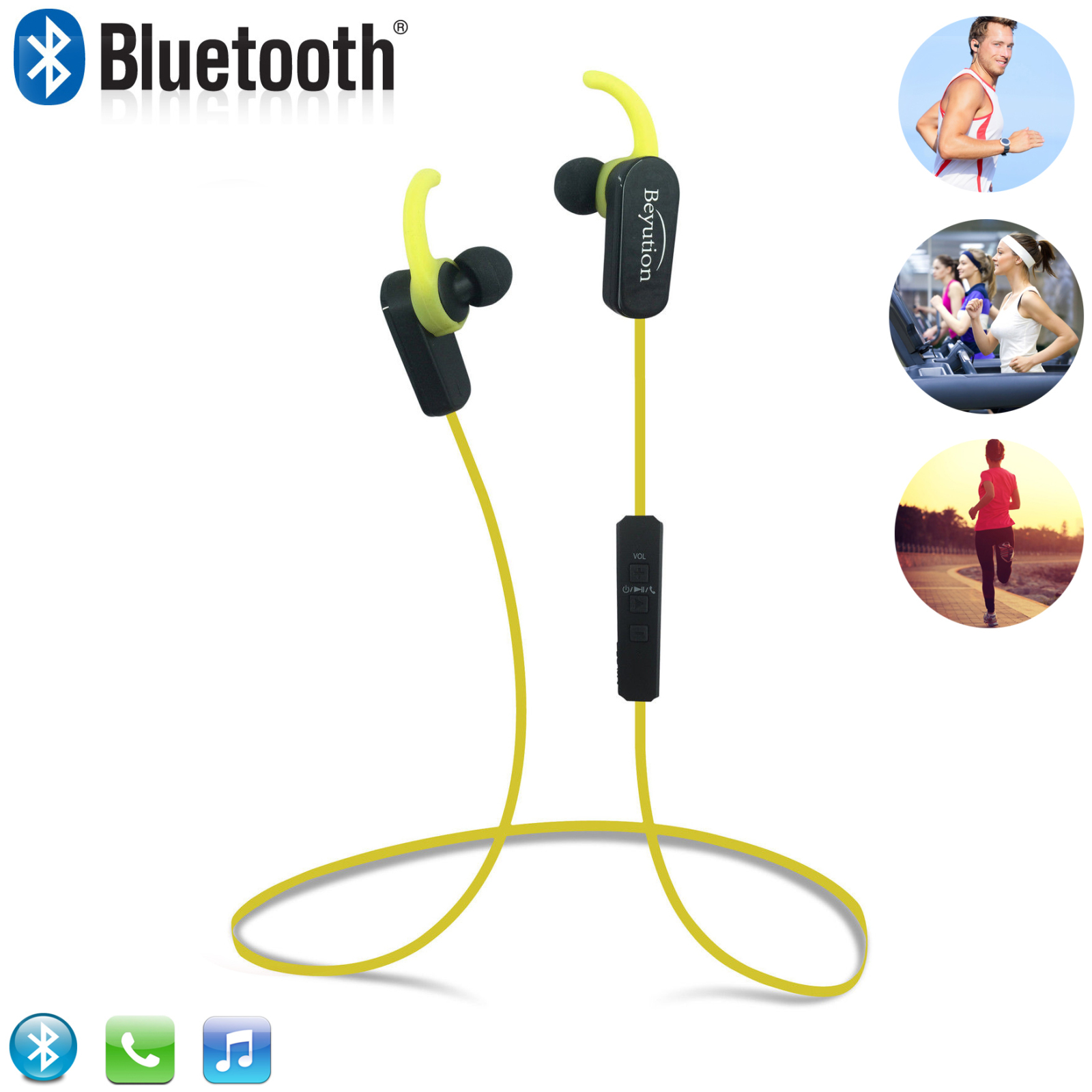 Beyution BT508S Bluetooth V4.1 Sport Headphones, Wireless Earbuds for Running Workout, Noise Cancelling Sweatproof Cordless Headset for Gym Use, Earphones w/Mic, iPhone Android Laptop PC (Yellow)