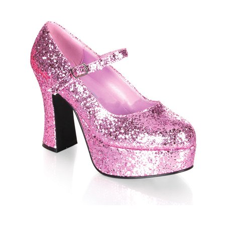 Womens Mary Jane Shoes Glitter Platform Chunky Heel Theatre Costumes Pink Red - Glitter Platform Mary Jane