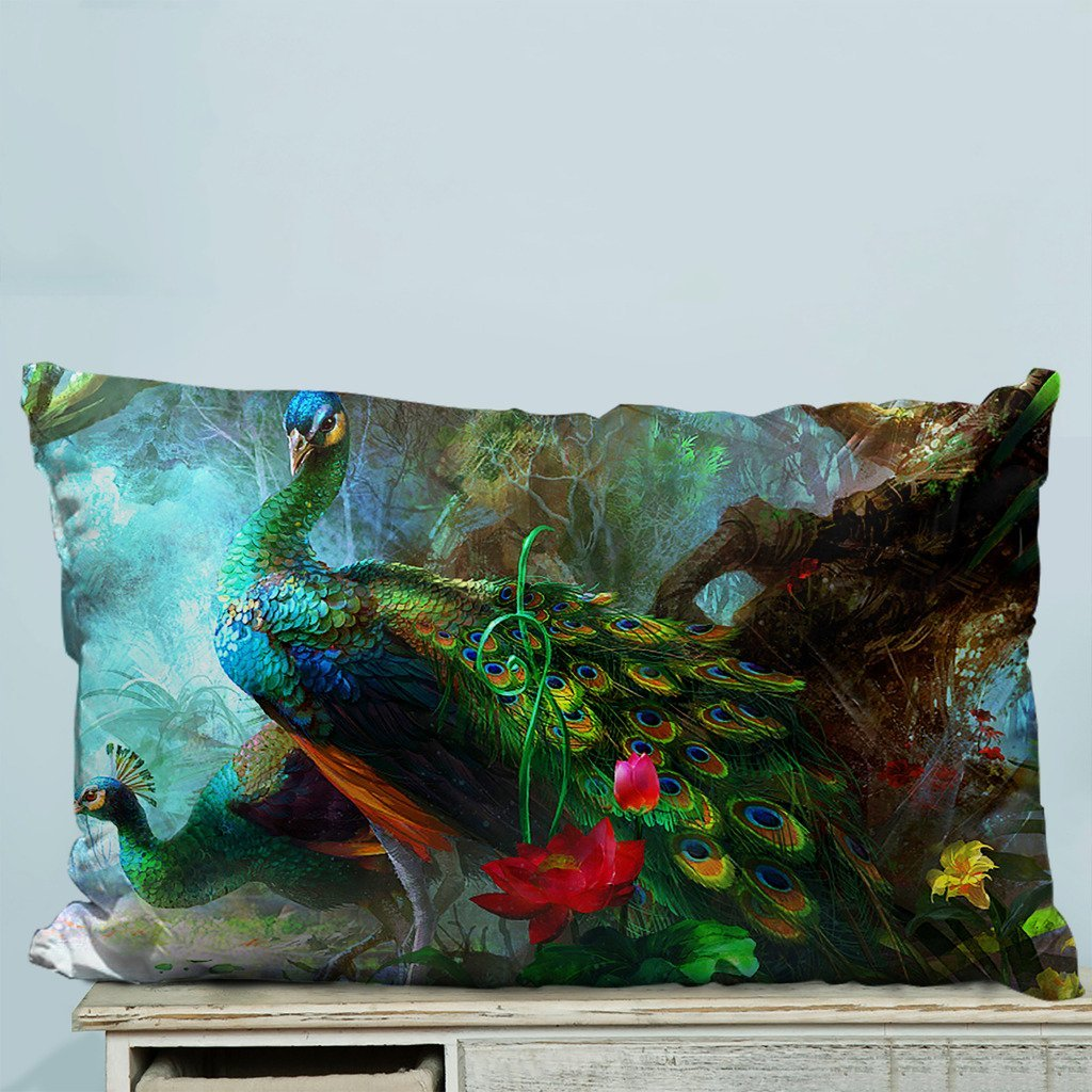 GCKG Charming Peacocks in the Jungle Pillow Case Pillow Cover Pillow Protector Two Sides 18x18 Inches - image 2 de 2