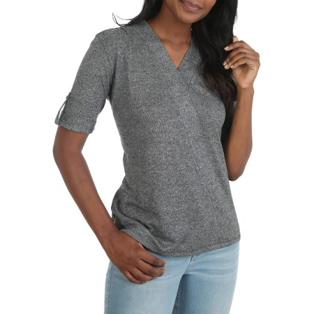 Women's Short Sleeve Faux Wrap (Knit Faux Wrap Top)