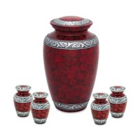 Urnsdirect2u Cloudy Red Adult Urn with 4 Tokens, 232 cubic inch capacity