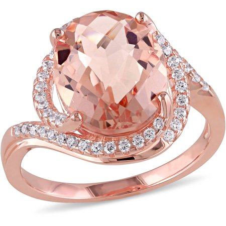 Tangelo 6-7/8 Carat T.G.W. Simulated Morganite and Cubic Zirconia Rose Rhodium-Plated Sterling Silver Halo Cocktail Ring