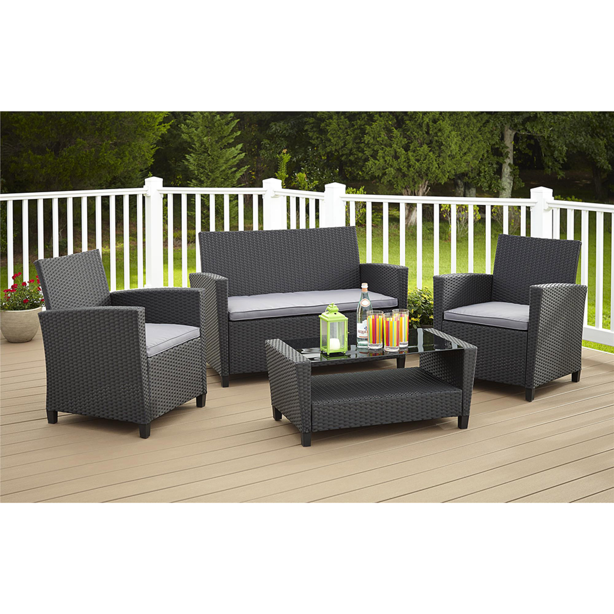 Cosco Outdoor Malmo 4-Piece Resin Wicker Patio Conversation Set, Black