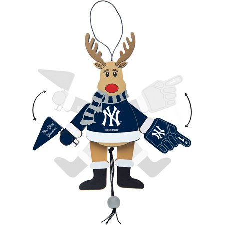 Topperscot by Boelter Brands MLB Wooden Cheering Reindeer Ornament, New York Yankees