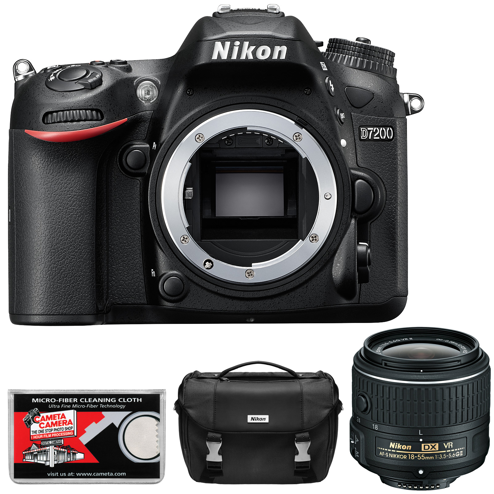 Nikon D7200 Wi-Fi Digital SLR Camera Body - Factory Refurbished with 18-55mm VR II Zoom Lens + Case + Kit