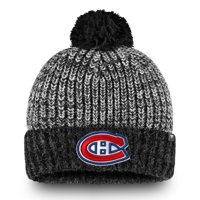 Montreal Canadiens Fanatics Branded Iconic Cuffed Knit Hat with Pom - Black/Gray - OSFA