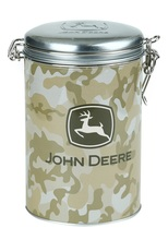 "Click here to buy John Deere Lock-up Round Carry All Tin Cookie Jar ""Camo""."