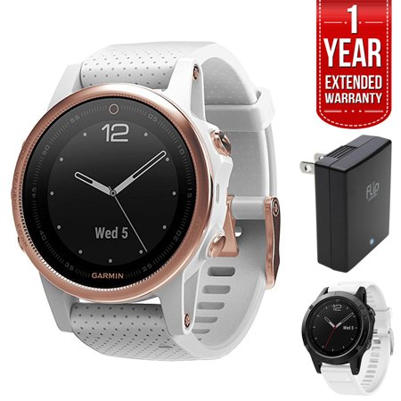 Garmin Fenix 5S 42mm Multisport GPS Watch - Rose Goldtone Sapphire with White Band (010-01685-16) + 1 Year Extended Warranty + Silicon Wrist Band - Yellow + Universal USB Travel Wall Charger