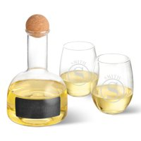 Personalized Chalkboard Wine Decanter in Wood Crate with Set of 2 Stemless Wine Glasses