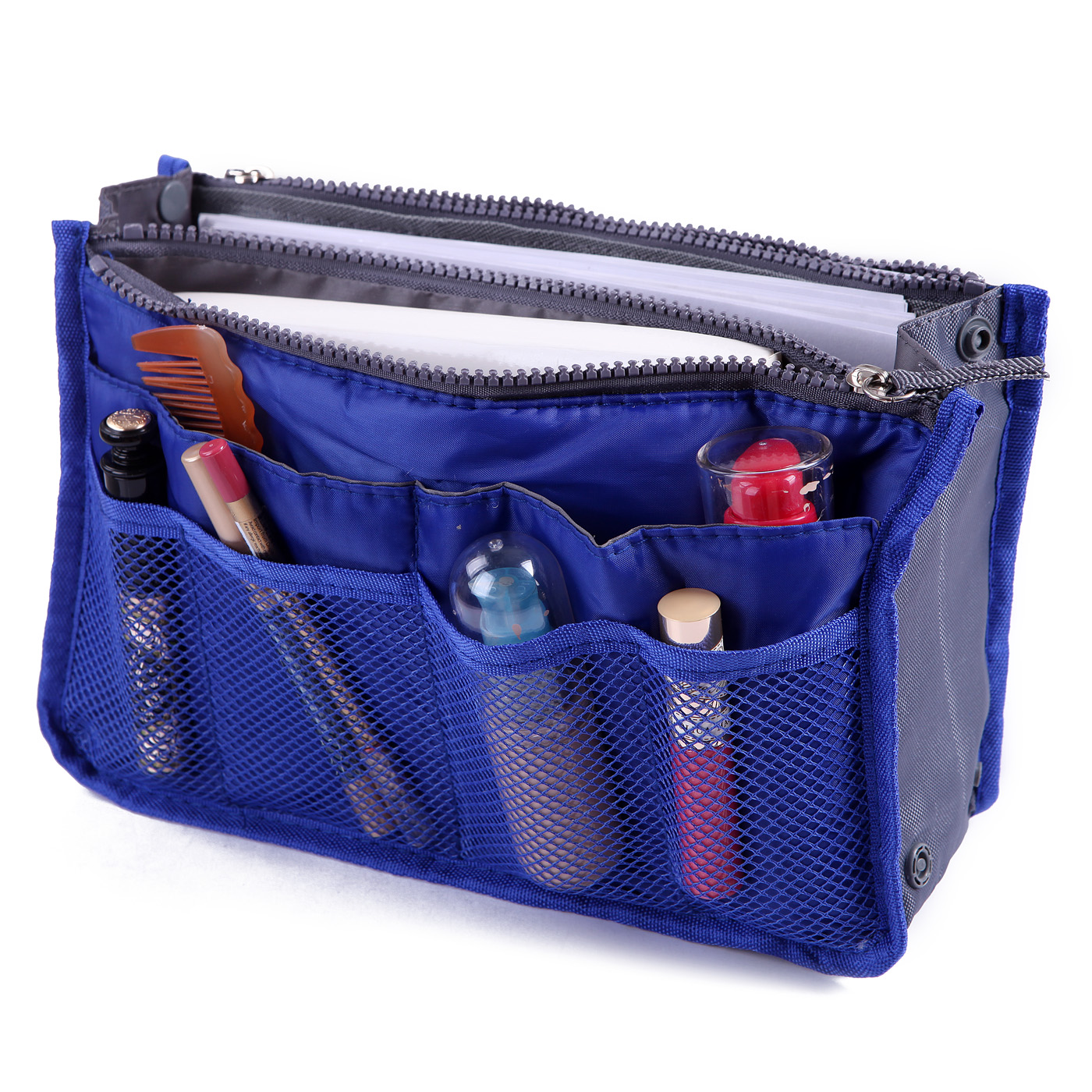 HDE Expandable 13 Pocket Handbag Insert Purse Organizer with Handles (Black)