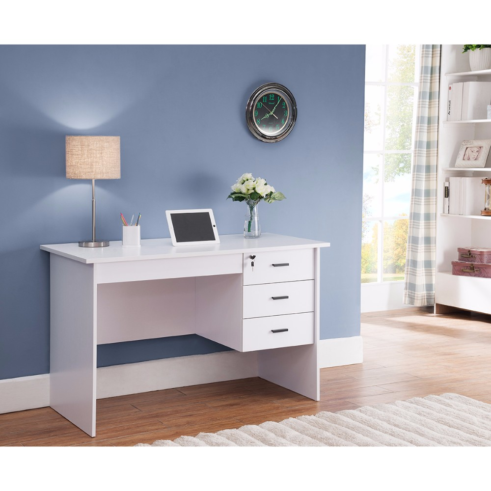 desk with locking drawers modern office desk with three locking drawers white 14696