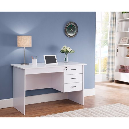 modern office desk with three locking drawers white. Black Bedroom Furniture Sets. Home Design Ideas