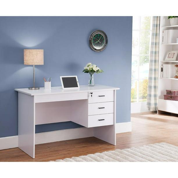 Modern Office Desk With Three Locking, Desk With Locking Drawers