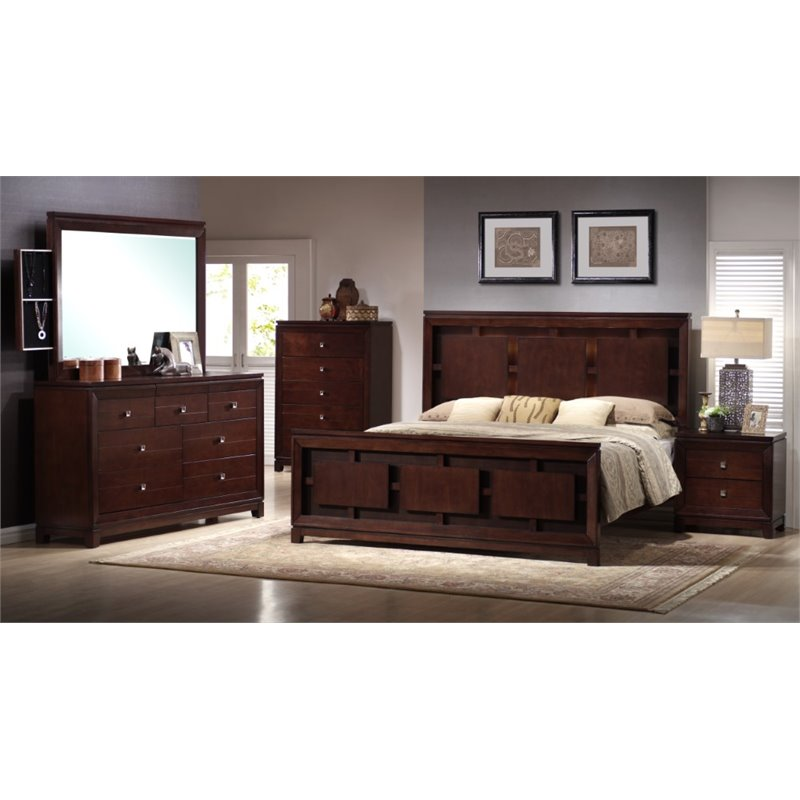 Picket House Furnishings Easton 6 Piece King Bedroom Set in Cherry