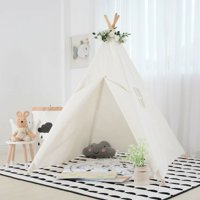 Kids Cotton Canvas Teepee Playhouse - Blue/Green flower/Pink/Flower color/White