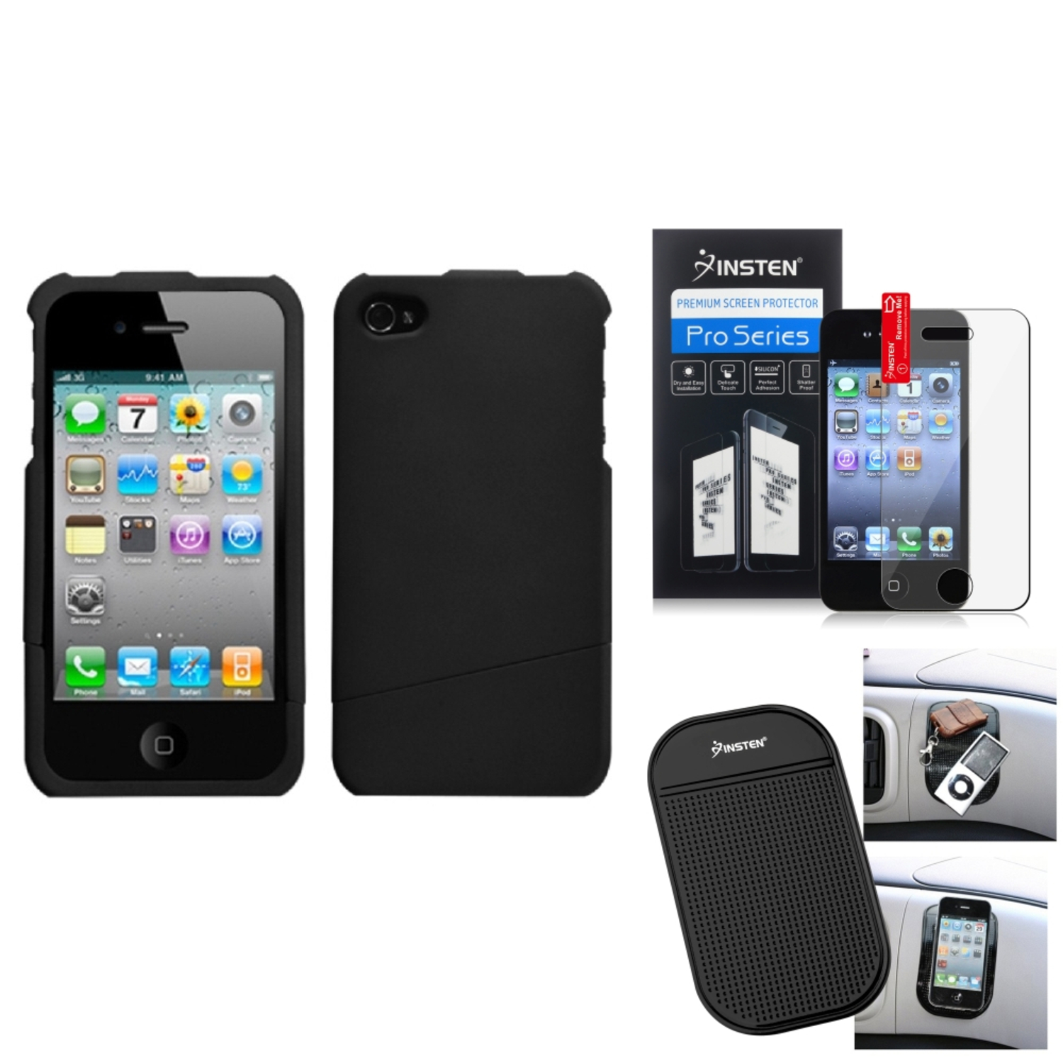 Insten Film Mat Black Slash Phone Case Cover(Rubberized) For APPLE iPhone 4S/4