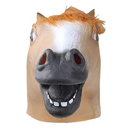 Halloween Party Decorations Creepy Horse head latex Rubber Mask Perfect for Harlem Shake& Gangnam Style-Browmn