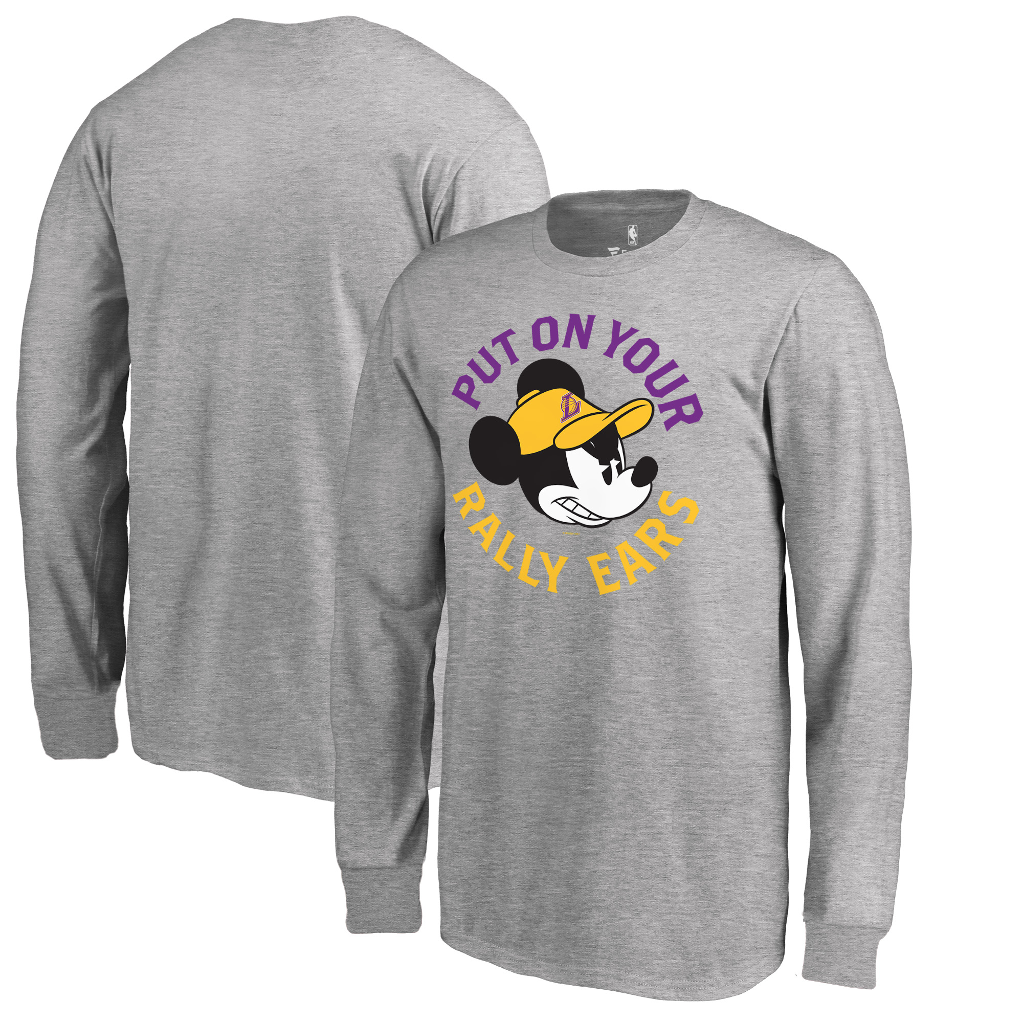 Los Angeles Lakers Fanatics Branded Youth Disney Rally Ears Long Sleeve T-Shirt - Ash