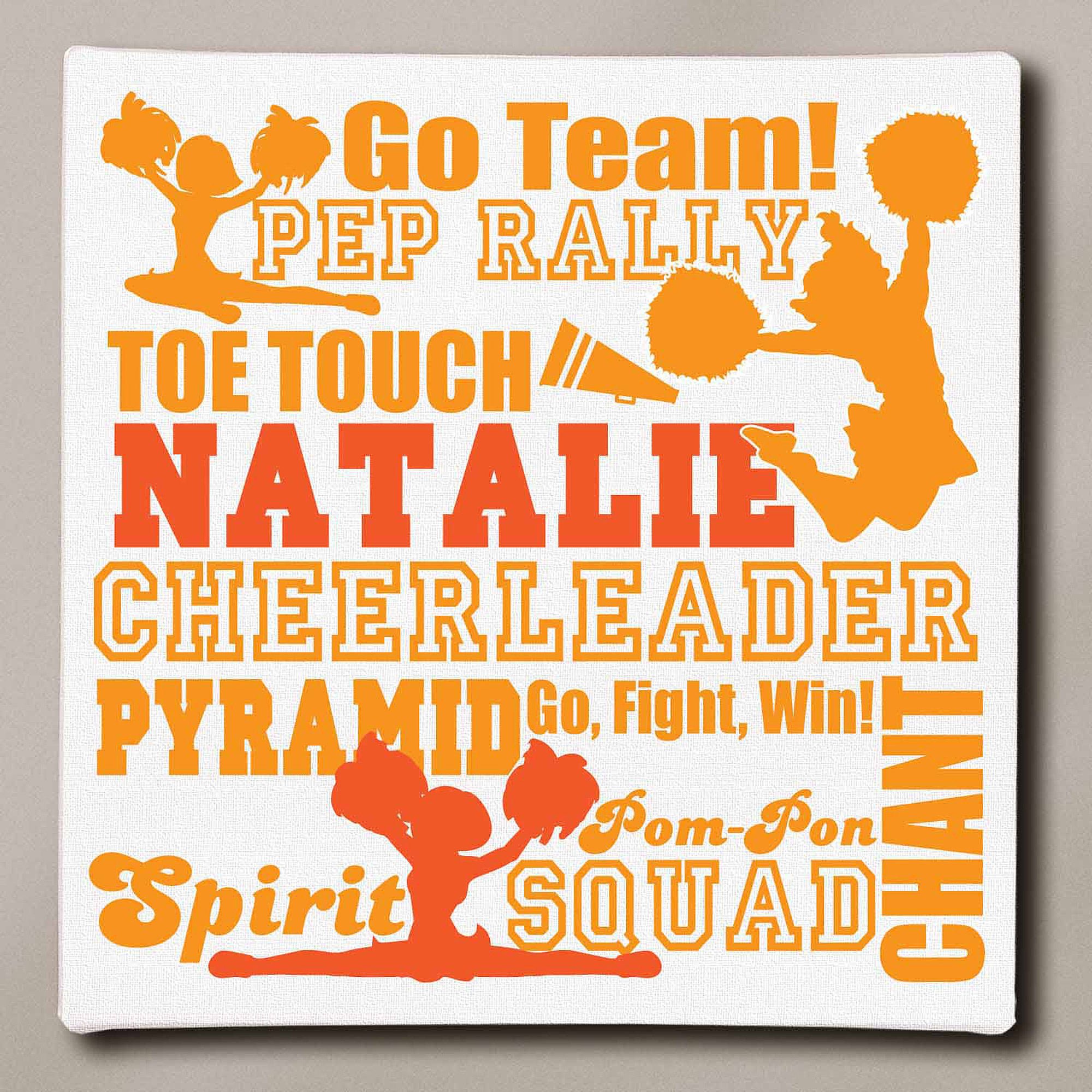 "Personalized Cheerleader Typography Canvas, 16"" x 16"""