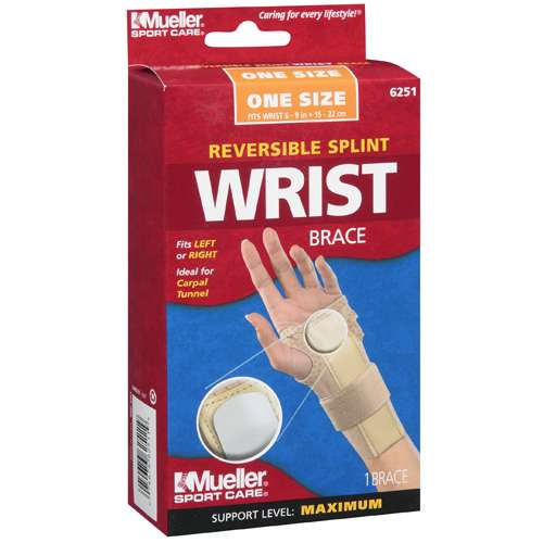 Mueller Sport Care: One Size Maximum Support Beige Reversible Splint Wrist Brace, 1 ct