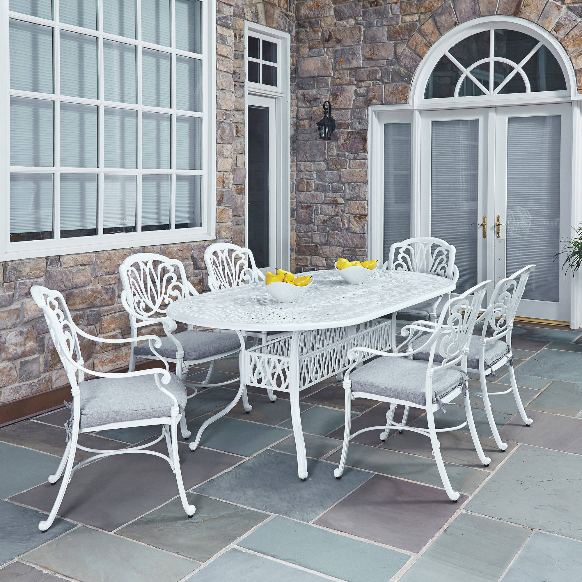 Home Styles Floral Blossom White 7pc Outdoor Dining Set with Oval Table and 6 Arm Chairs