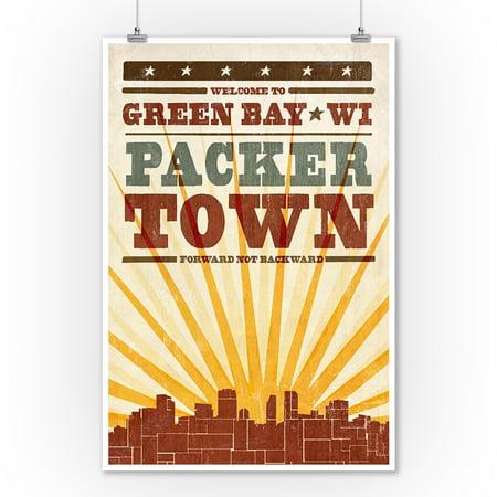 Green Bay, Wisconsin - Skyline & Sunburst Screenprint Style - Lantern Press Artwork (9x12 Art Print, Wall Decor Travel Poster)
