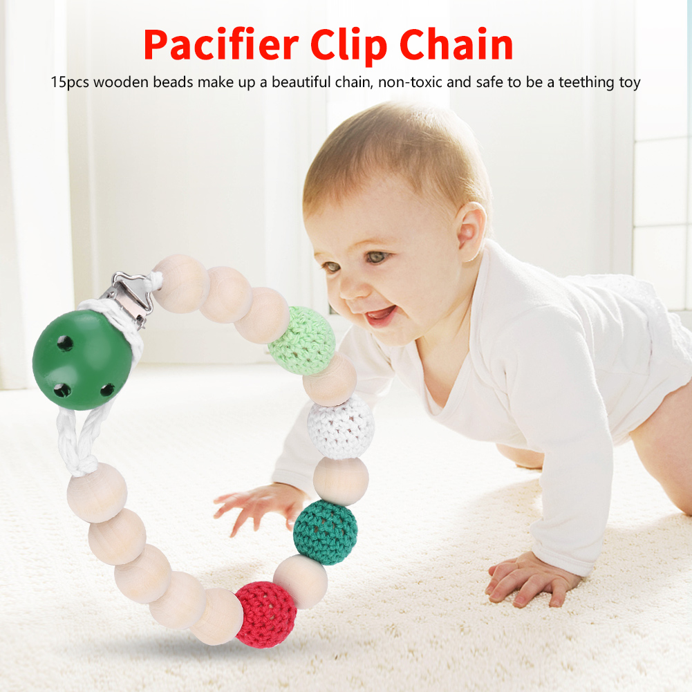 Infant Pacifier Soother Holder Crochet Wooden Beads Chain Metal Clip Baby Shower Feeding Toy, Pacifier Clip, Pacifier Clip Chain