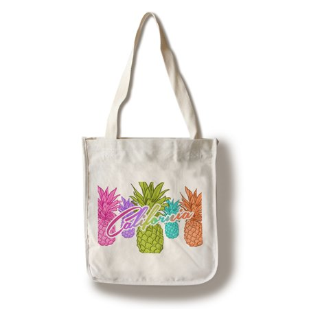 California - Rainbow Pineapples - Lantern Press Artwork (100% Cotton Tote Bag - Reusable) - California Tote Bag