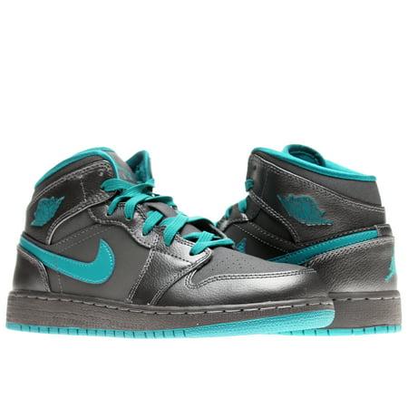9994709df82 Jordan - Nike Air Jordan 1 Mid (GG) Dark Grey/Teal Girls' Basketball ...