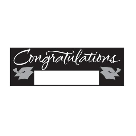 School Colors Paper Art Giant Fill-In Graduation Party Banner, 60 by 20-Inch, Black and Silver, Signable hanging paper graduation party banner By Creative Converting](Graduation Ideas For High School)
