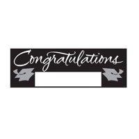 School Colors Paper Art Giant Fill-In Graduation Party Banner, 60 by 20-Inch, Black and Silver, Signable hanging paper graduation party banner By Creative Converting