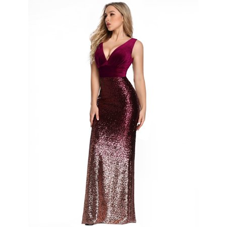 Ever-Pretty Women's Bodycon Sequin Sexy Formal Evening Prom Ball Gown for Women 77673 Burgundy