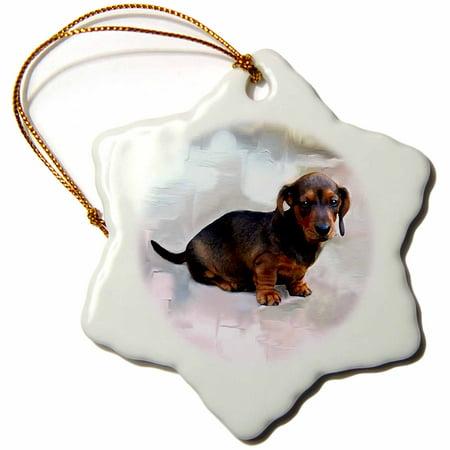 3dRose Miniature Dachshund - Snowflake Ornament, 3-inch