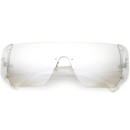 Oversize Rimless Shield Sunglasses Flat Top Mono Block Lens 62mm (Clear / Smoke (Flat Top Lenses)
