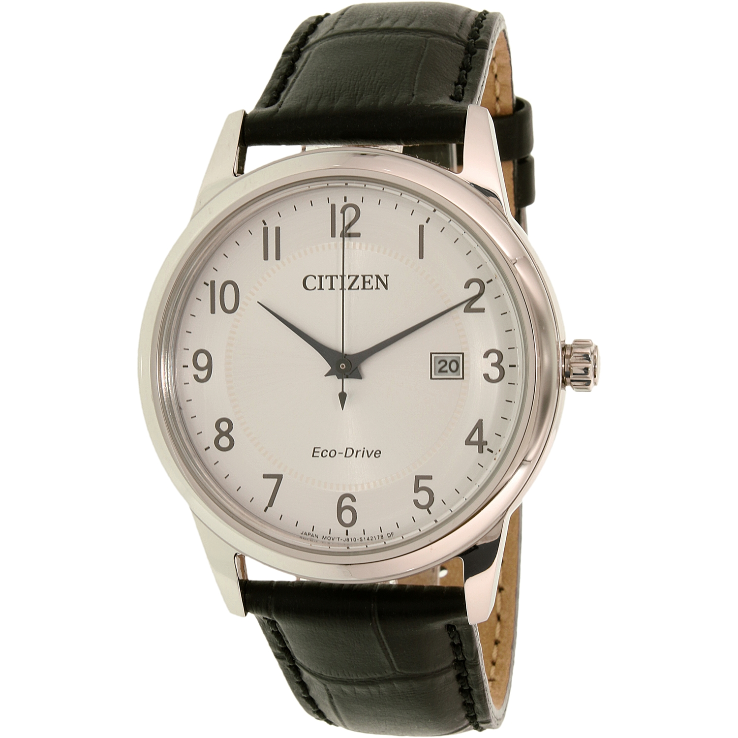 Citizen Men's Eco-Drive AW1231-07A Black Leather Eco-Drive Dress Watch