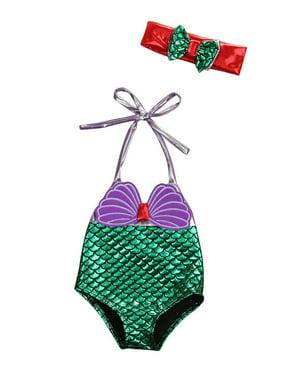 Baby Girl Mermaid Princess Bowknot Bathing Suit 1 Piece Halter Neck Sequins Swimsuit Headband Bikinis 0-3T