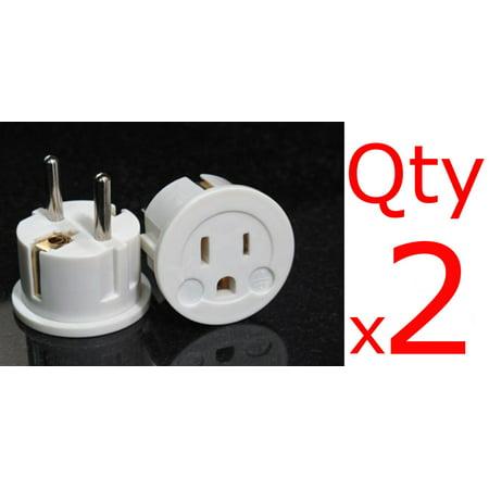 2 Pack of US EU Plug Adapters- European Schuko Plug USA to Europe Asia American to EU White ()