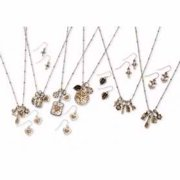 "Necklace-Charm Pendant w/Pierced Earring Set (18"") Asst (Pack Of 6 Sets)"
