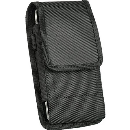 Oversize Heavy Duty V Canvas Nylon Pouch Case Metal Clip Holster Fits Apple iPhone 5S 5 with OTTERBOX ARMOR case on it