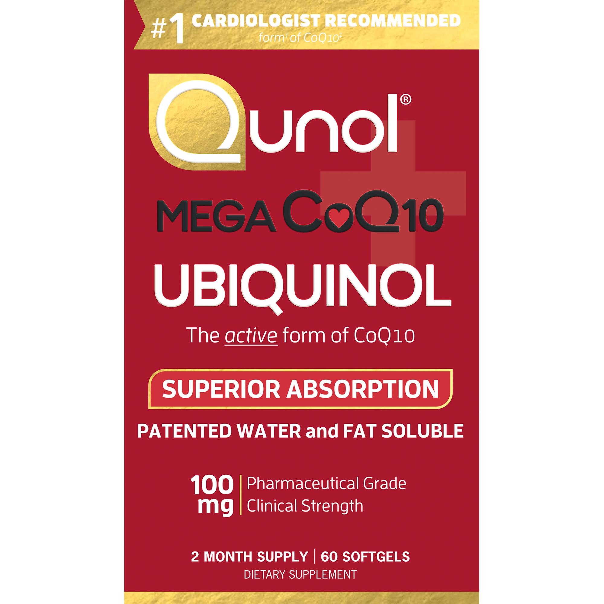 Qunol Mega CoQ10 Super Ubiquinol Dietary Supplement Softgels, 100mg, 60 count