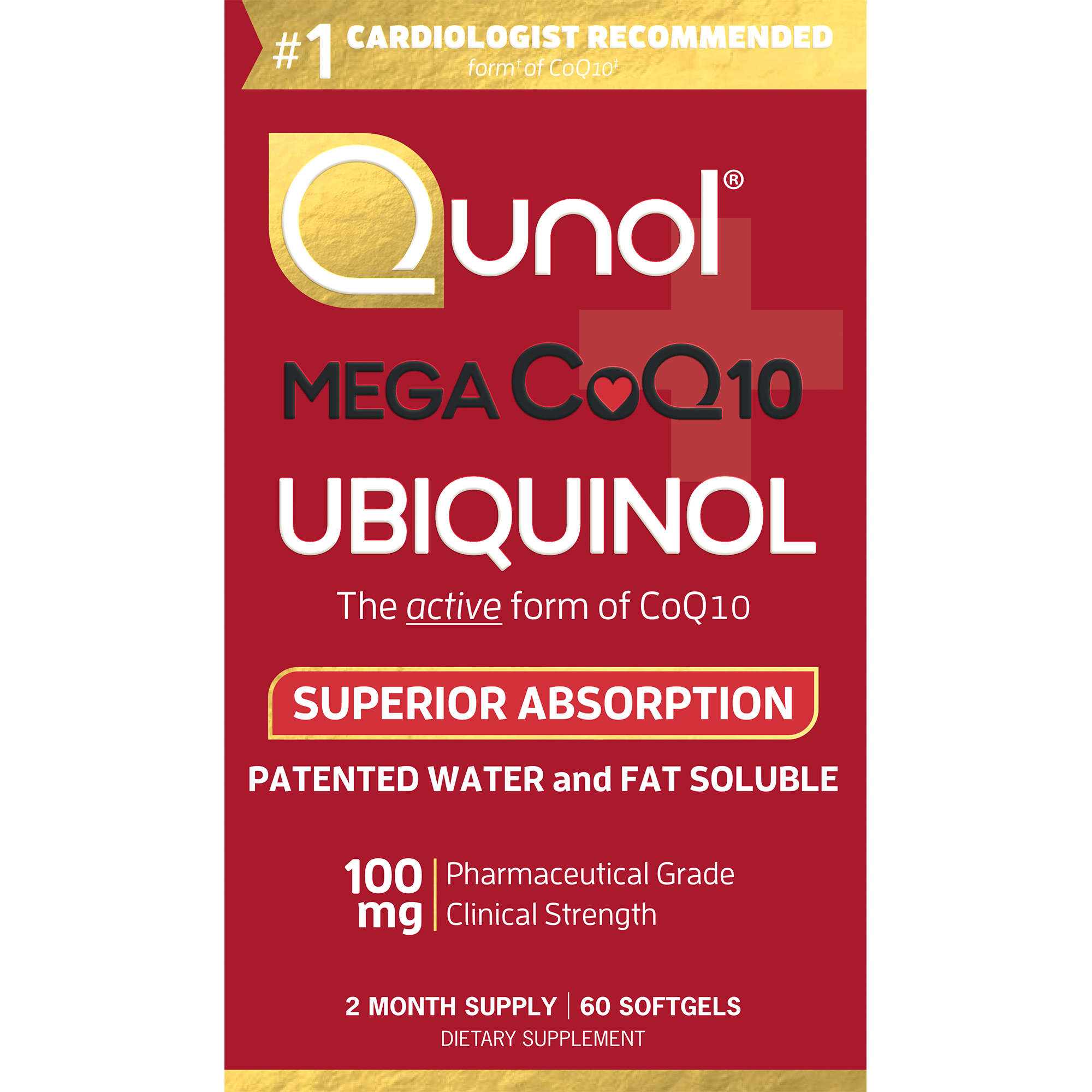 Qunol Mega CoQ10 Super Ubiquinol Dietary Supplement Softgels, 100mg, 60 count