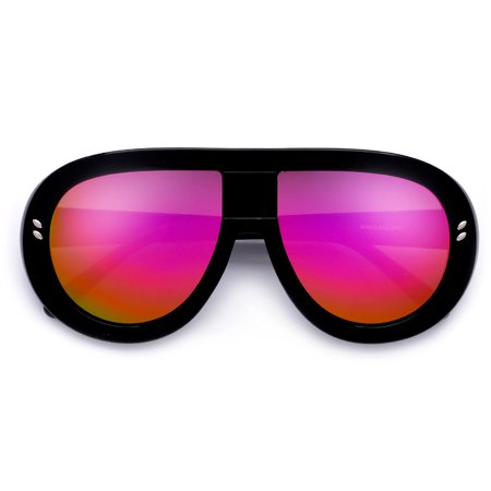a24e6ffbb0 sunglass spot - Retro Designer Inspired Thick Oversize 60mm Mirrored ...