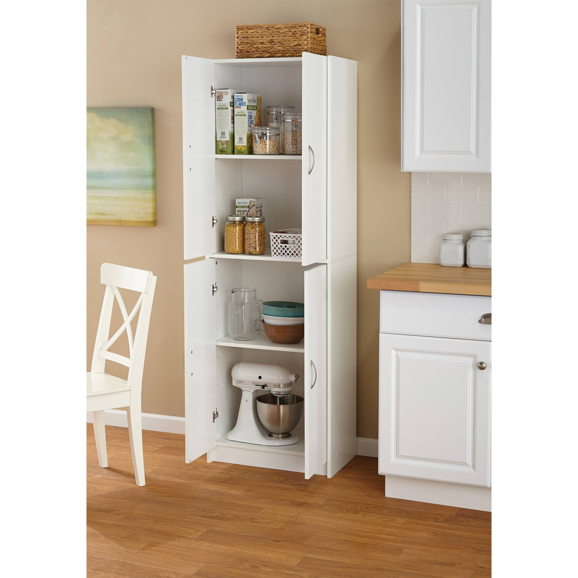 Tall storage cabinet kitchen cupboard pantry food storage organizer shelf wood ebay - Bathroom pantry cabinets ...