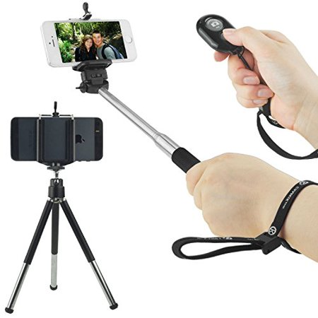 Universal Wireless Selfie Kit includes Selfie Stick, Tripod and Bluetooth Remote Control. Handsfree Control of Camera Shutter from a Distance of up to 30 feet. For iOS & Android (Best Android Universal Remote)