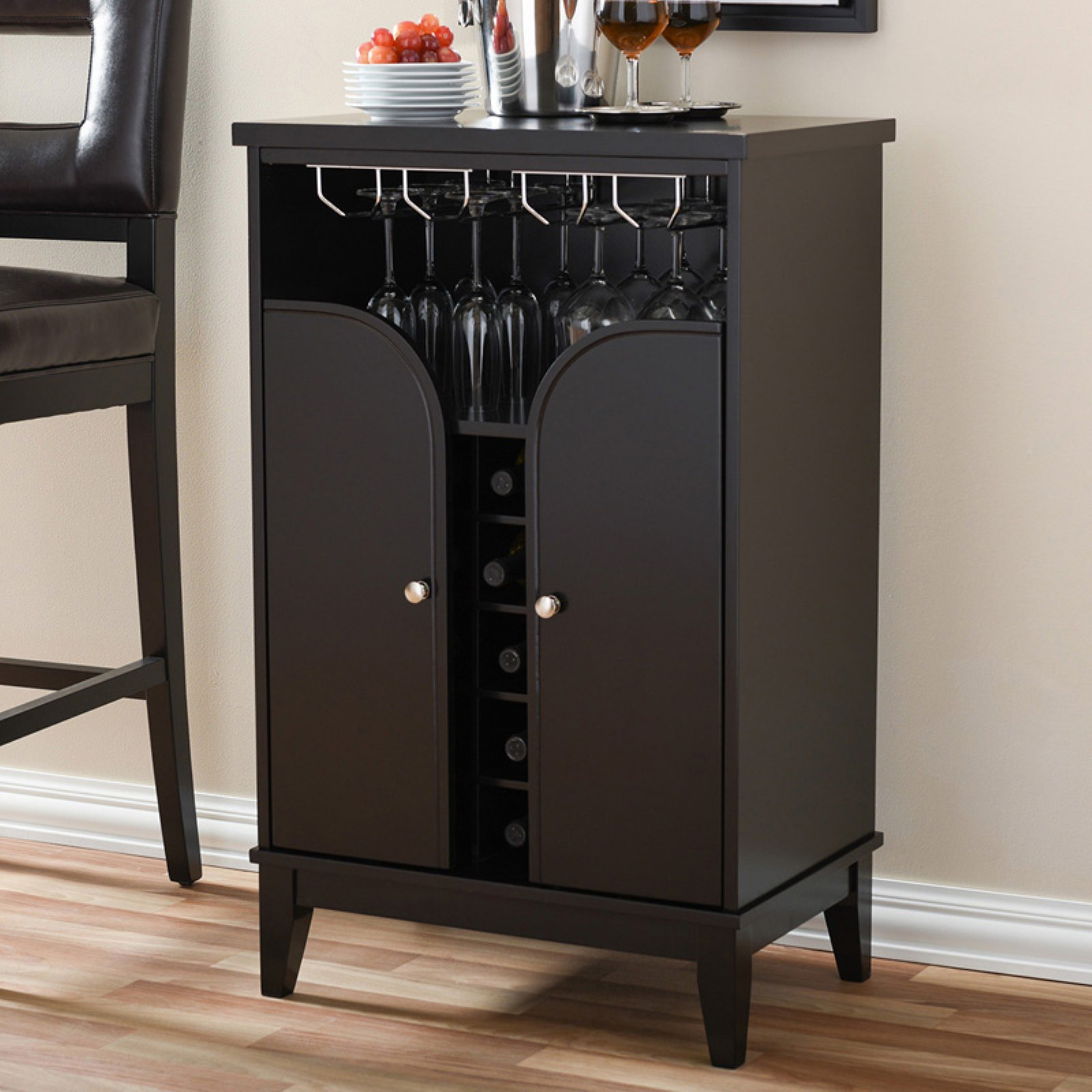 Baxton Studio Easton Modern and Contemporary Dark Brown Wood Modern Dry Bar and Wine Cabinet by Wholesale Interiors