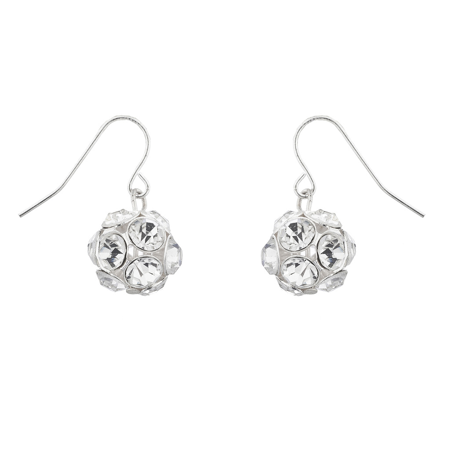 Lux Accessories Silver Tone Christmas Xmas FireBall Ornament Dangle Earrings