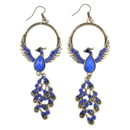 Women Phoenix Bird Shape Chandelier Retro Style Hook Earrings Bronze Tone Pair