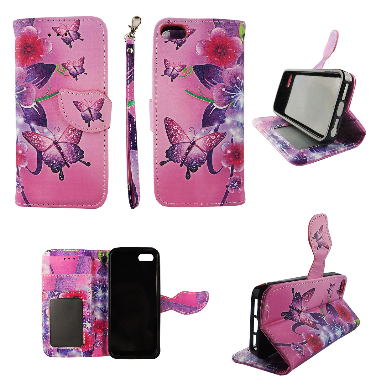 Butterfly Flower Pink Wallet Folio Case for iPhone SE 5S 5 Fashion Flip PU Leather Cover Card Cash Slots & Stand