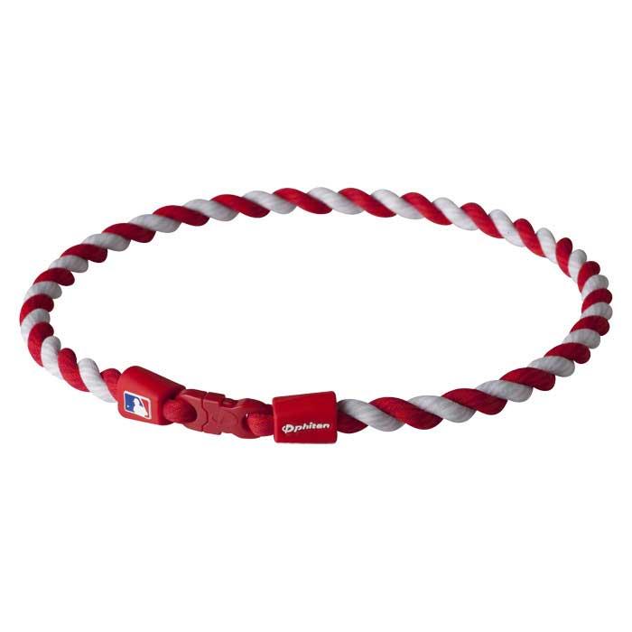 PHITEN Titanium Necklace MLB Tornado-18inch-Navy/White